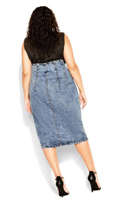 Denim Pin Up Skirt - mid denim