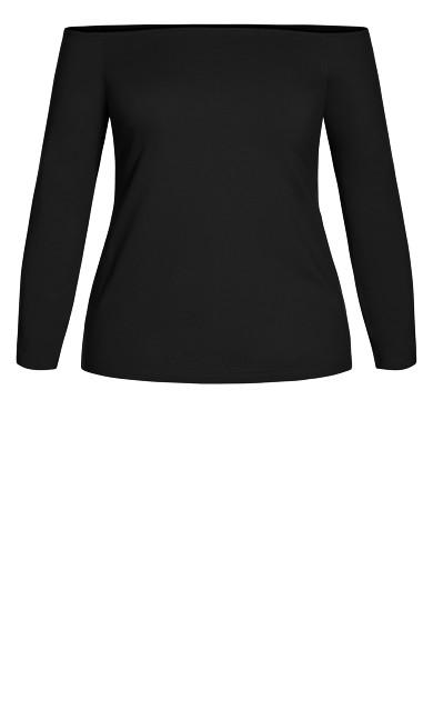Off Shoulder Basic Top - black