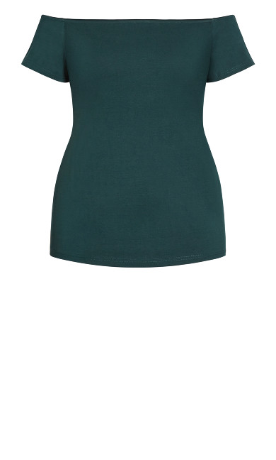 Simple Off Shoulder Top - emerald