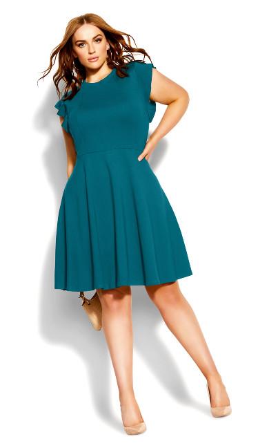 Frill Shoulder Dress - teal