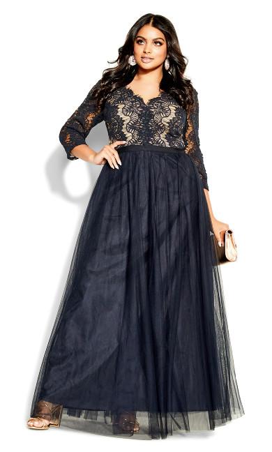 Beauty Elbow Sleeve Maxi Dress - navy