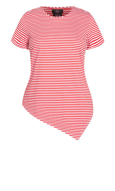 Asymmetric Stripe Tee - red