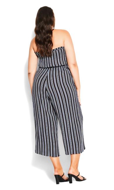 Bold Stripe Jumpsuit - navy