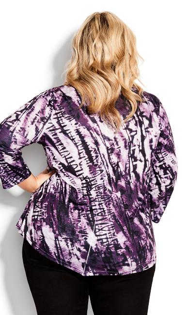 Tie Dye Print Top - plum