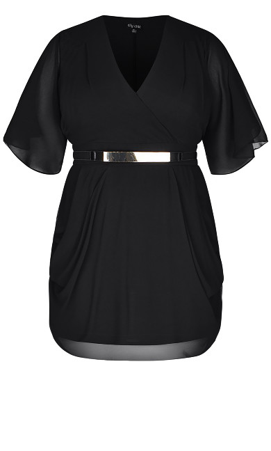 Draped Faux Wrap Dress - black