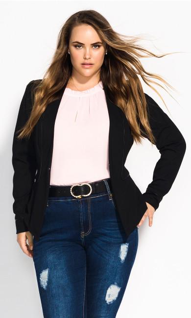 Women's Plus Size Piping Praise Jacket - black