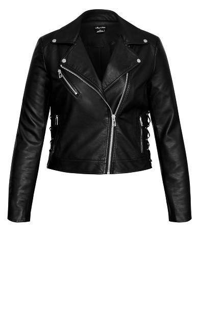 Laced Up Biker Jacket - black