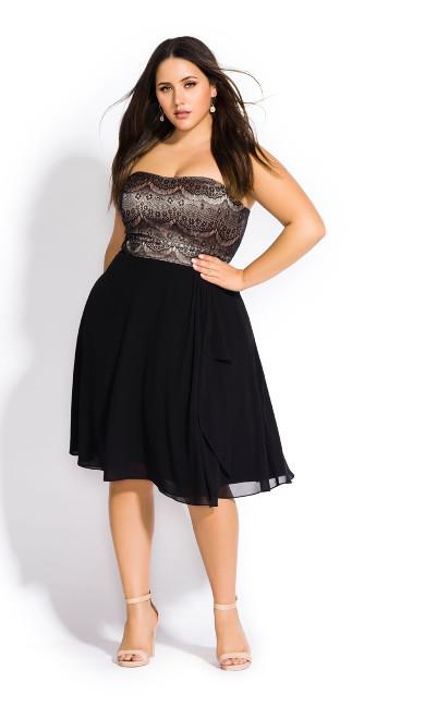 Women's Plus Size Ebony Eyelash Dress
