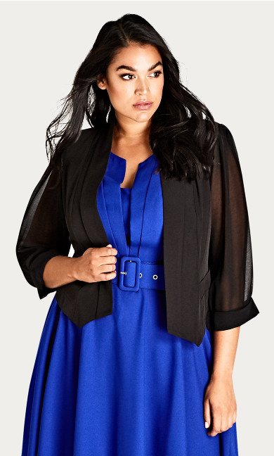 Women's Plus Size Cropped Blazer Jacket