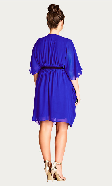 Draped Faux Wrap Dress - cobalt