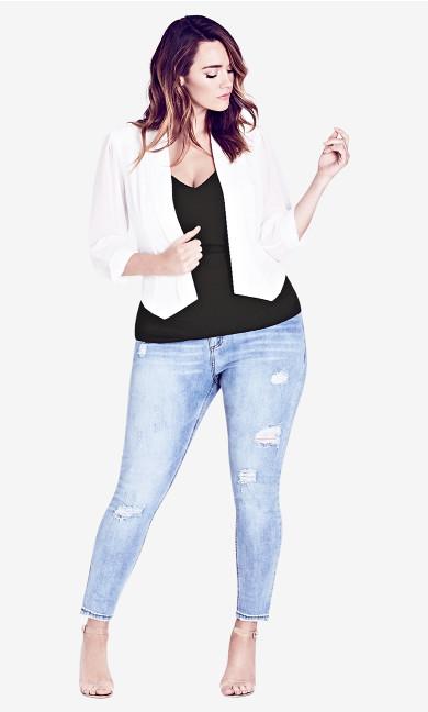 Women's Plus Size Drape Front Cropped Blazer - Ivory