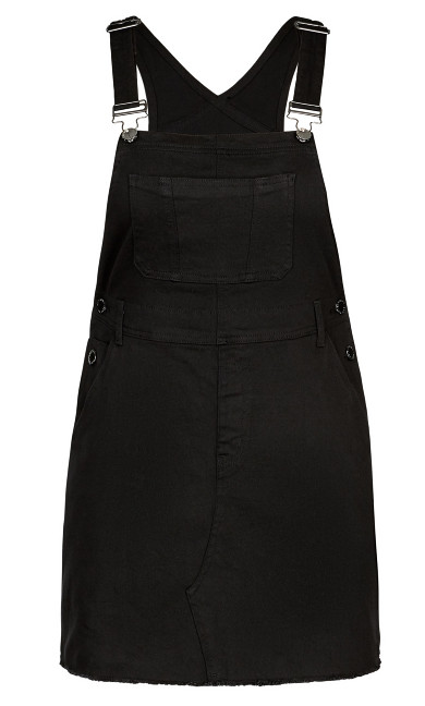 Denim Bib Dress - black