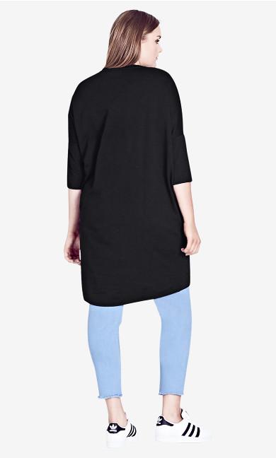 Oversize Longline Top - Black