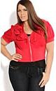 Women's Plus Size Cropped Ruffle Jacket   City Chic USA