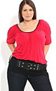 Red Black Belted Top