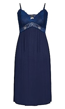 7/8 Lace Nightie - navy